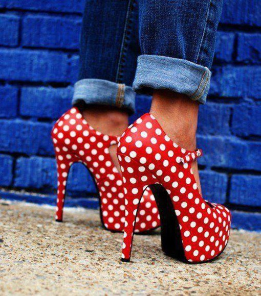spring polka dots Pin up print high heels heels strappy red white found