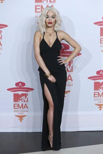 dress calvin klein dress calvin klein black dress slit dress slip dress maxi dress red carpet dress rita ora celebrity black slip dress