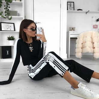 pants adidas black and white