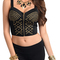 Black sexy bustier style studded zipper front crop top