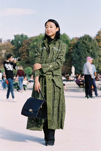 vanessa jackman blogger coat olive green laser cut