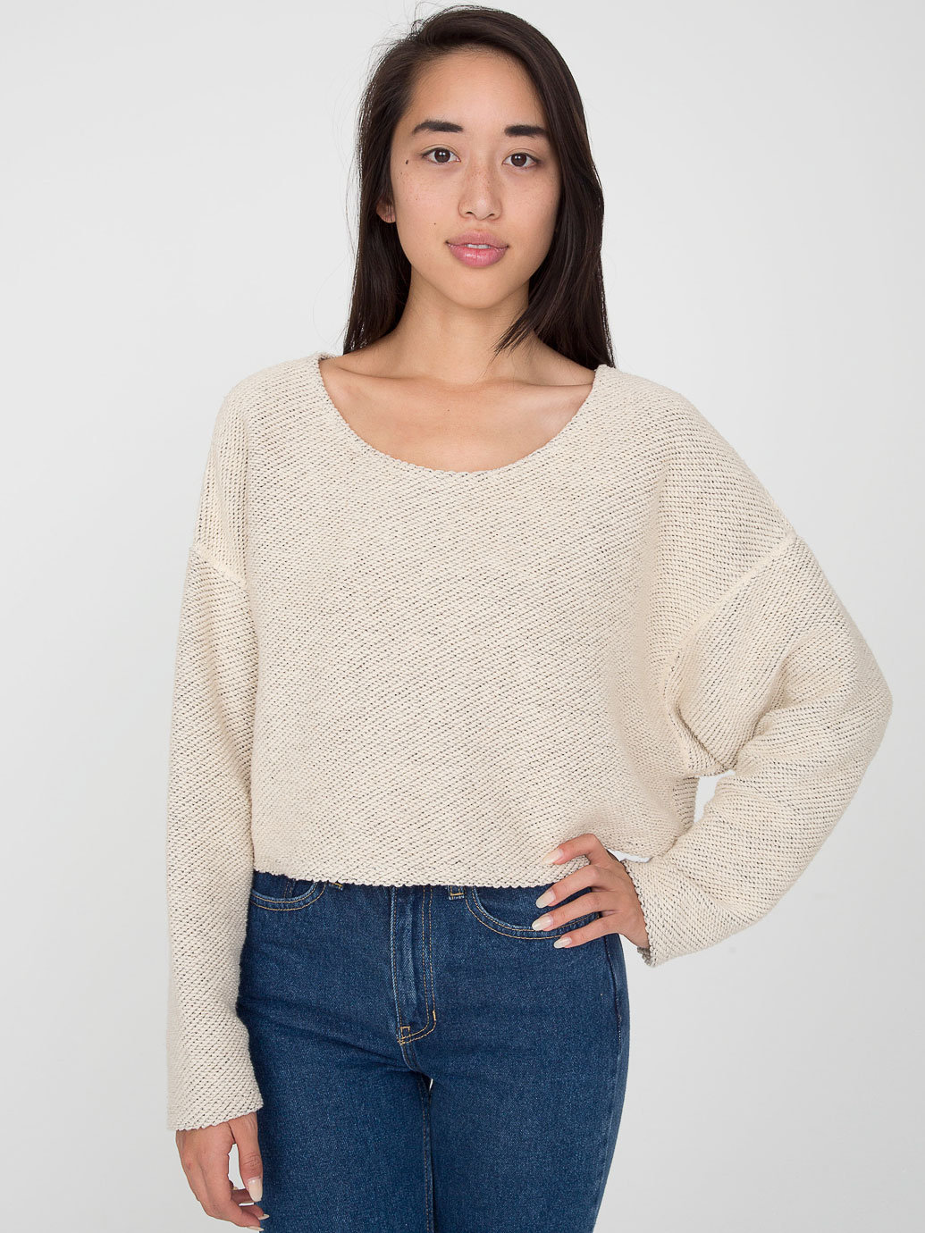 Cropped Reversible Easy Sweater | American Apparel