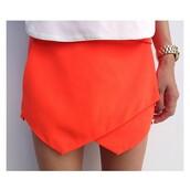 skirt,wrap,neon,orange,jewels,shirt,shorts,bright,spring,musthave,summer,neon orange mini skirt,mini skirt,orange skirt,neon skirt,geometric
