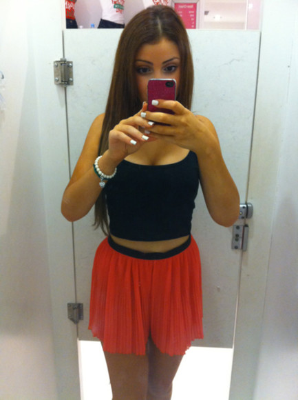 skirt orange mini skirt