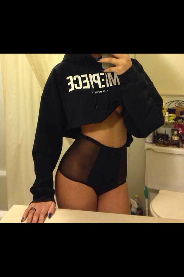 swimwear mesh see through high waisted underwear sweater