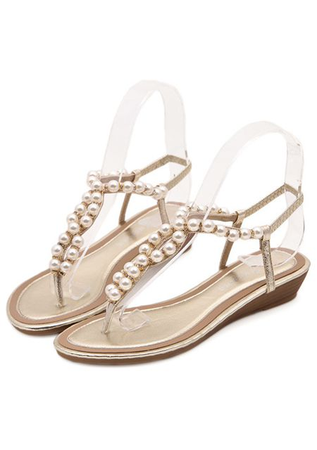 Women's round toe jewel pearl flats sandals