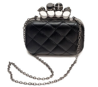 black clutch skull ring skull diamonds knuckle clutch bag