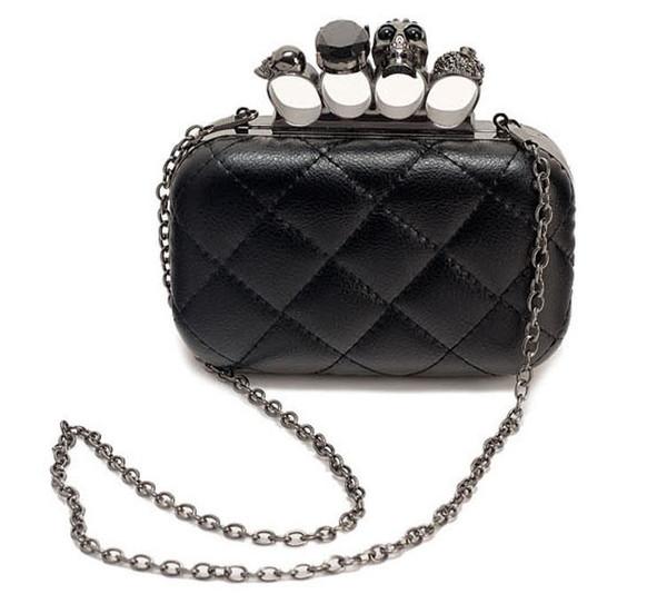 black clutch skull ring skull diamonds knuckle clutch bag