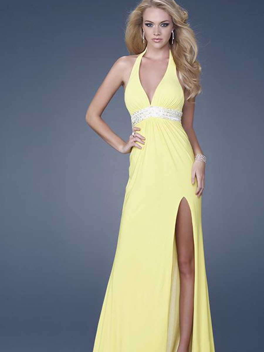 Aliexpress.com : Buy Light yellow A line deep V neck Halter sleeveless Beading belt Chiffon high slit Evening Dress/ED030 from Reliable dress racing suppliers on Queen's Dress&Shinning Life
