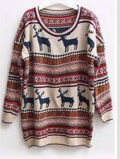 sweater,nordic,deer,christmas sweater,fair isle,baggy,hipster