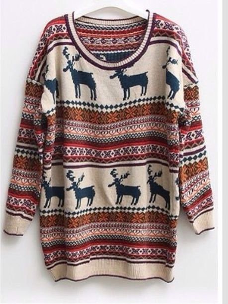 sweater nordic deer christmas sweater fair isle baggy hipster