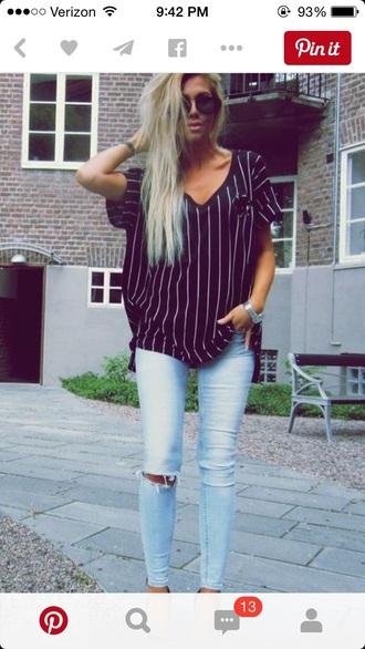 shirt t-shirt top baseball tee striped shirt stripes black and white