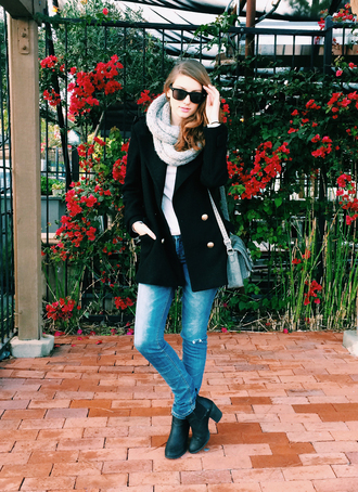 these days blogger scarf jeans black boots satchel bag