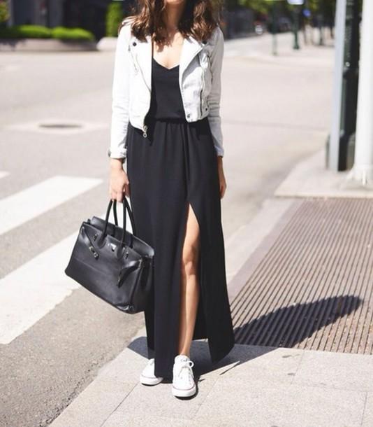 dress black maxi dress stylish classic jacket shoes black dress