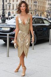 dress,gown,prom dress,gold,gold dress,emily ratajkowski,model off-duty,Paris Fashion Week 2017,midi dress,metallic,metallic dress