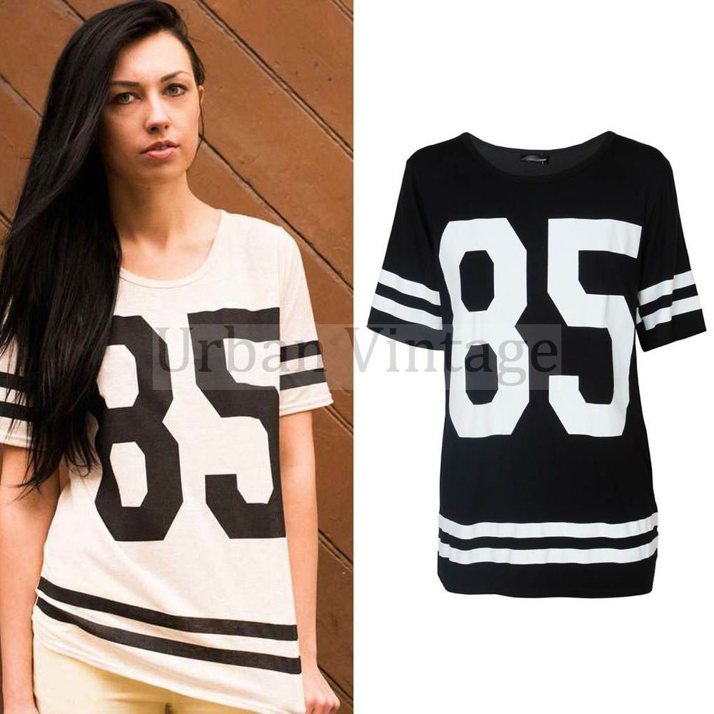 Womens Fashion Football Jersey Shirt Dress Baggy Sports T Shirt Top Oversized -