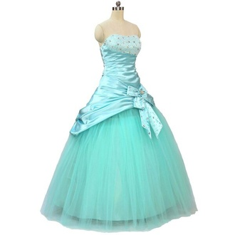 dress light blue baby blue satin dress satin shiny bow bedazzled tool skirt. ball gown dress prom dress strapless dress strapless