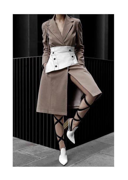 fake leather blogger coat belt shoes bag jewels