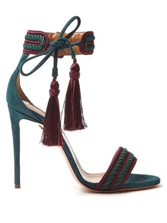 tassel sandals suede green shoes