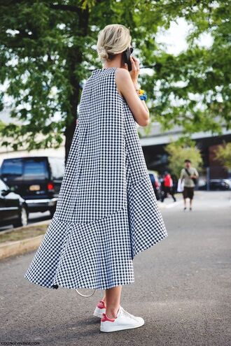 dress long dress spring dress pattern patterned dress adidas shoes houndstooth black and white black and white dress streetstyle