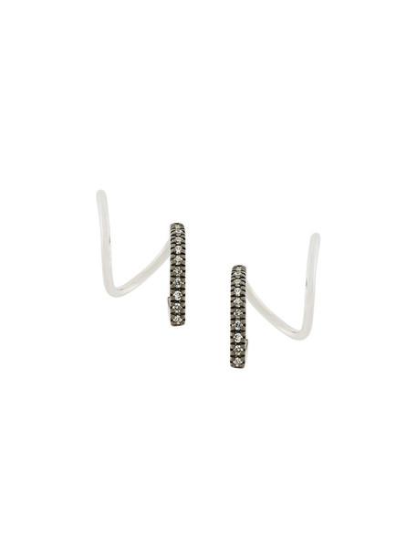 Maria Black women earrings gold white grey metallic jewels