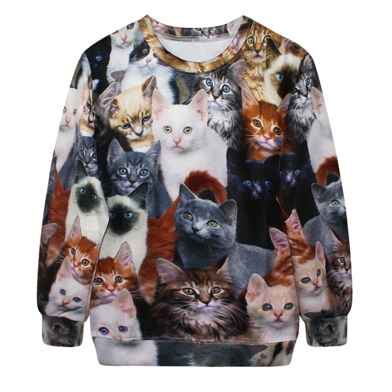 Voglee fashion womens sweaters cats print sweatshirt autumn winter pullovers at amazon women's clothing store: