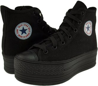 shoes platform converse black platform shoes converse high top converse black converse high top sneakers chuck taylor all stars solid black black sole black laces sneakers all star platform sneakers