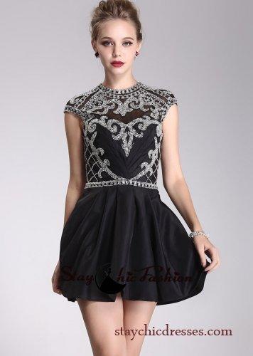 2014 Black Jeweled Turtle Neck Cap Sleeves Beaded Open Back Short Dress [SC-01] - $192.00 : Prom Dresses On Sale, Semi-formal Dresses Online|StaychicDresses