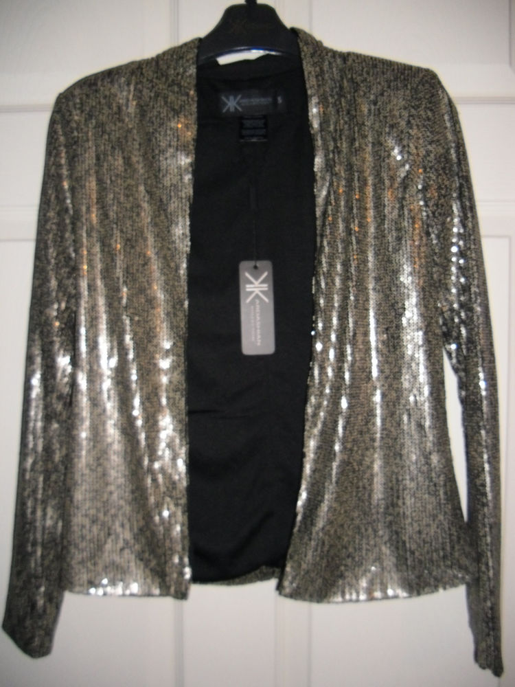 New Kardashian Kollection Collection Gold Sequin Blazer Jacket Womens Small | eBay