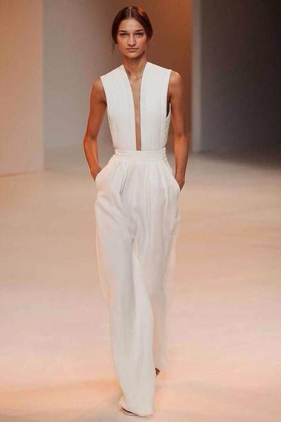romper white jumpsuit jumpsuit ivory