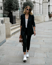 jacket,black blazer,white top,white sneakers,cropped pants,black pants,handbag,sunglasses,chain necklace