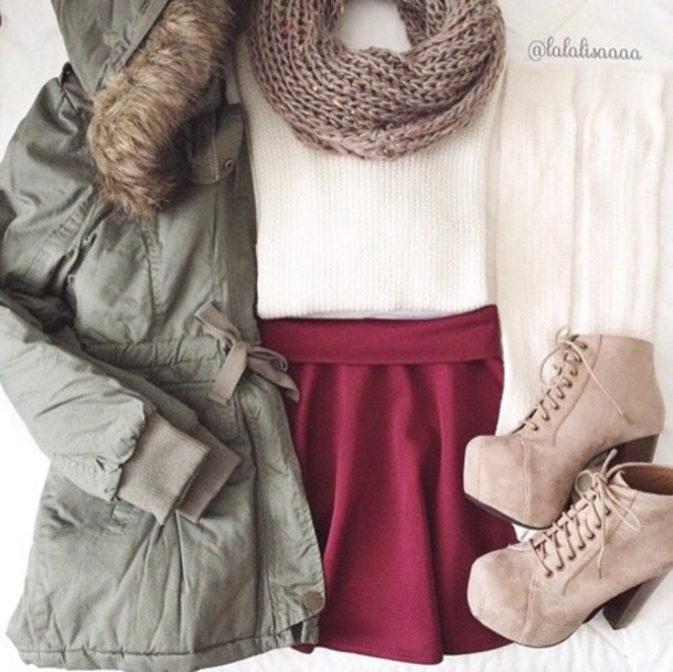 jacket scarf shoes skirt socks sweater