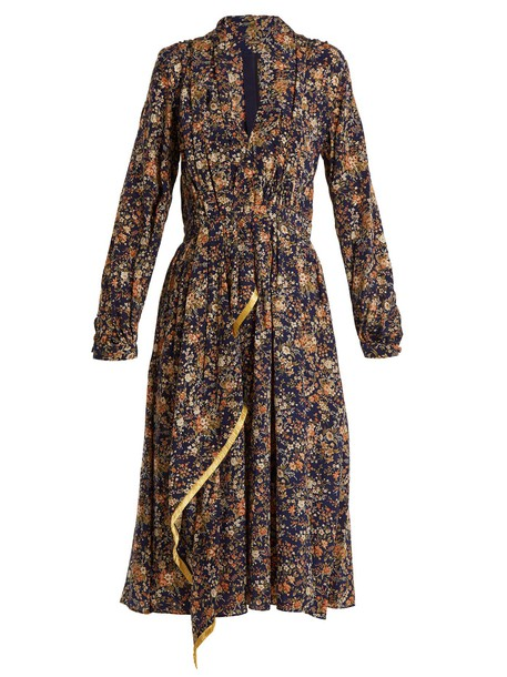 Adam Lippes dress midi dress midi floral print silk navy