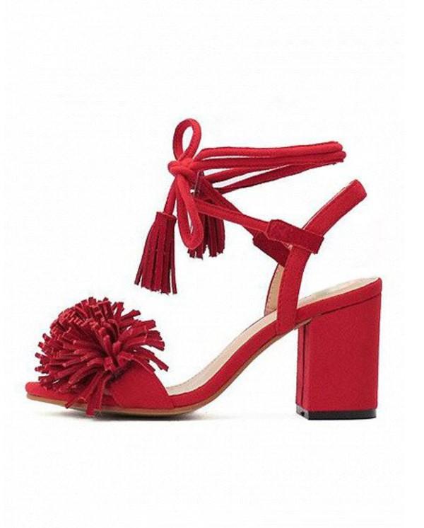 Shoes: girl, girly, girly wishlist, red, block heels, fringes ...