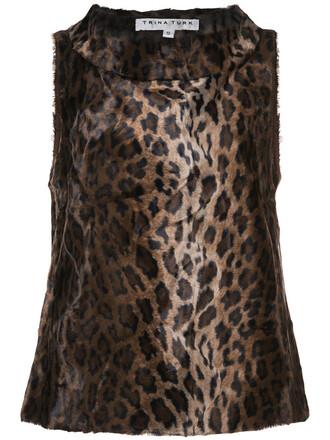 blouse women cotton print brown leopard print top