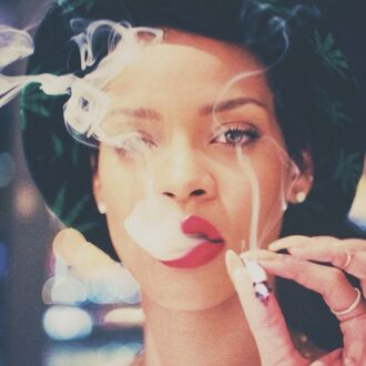 hat bucket hats rihanna rihanna style singer bucket hat weed marijuana make-up