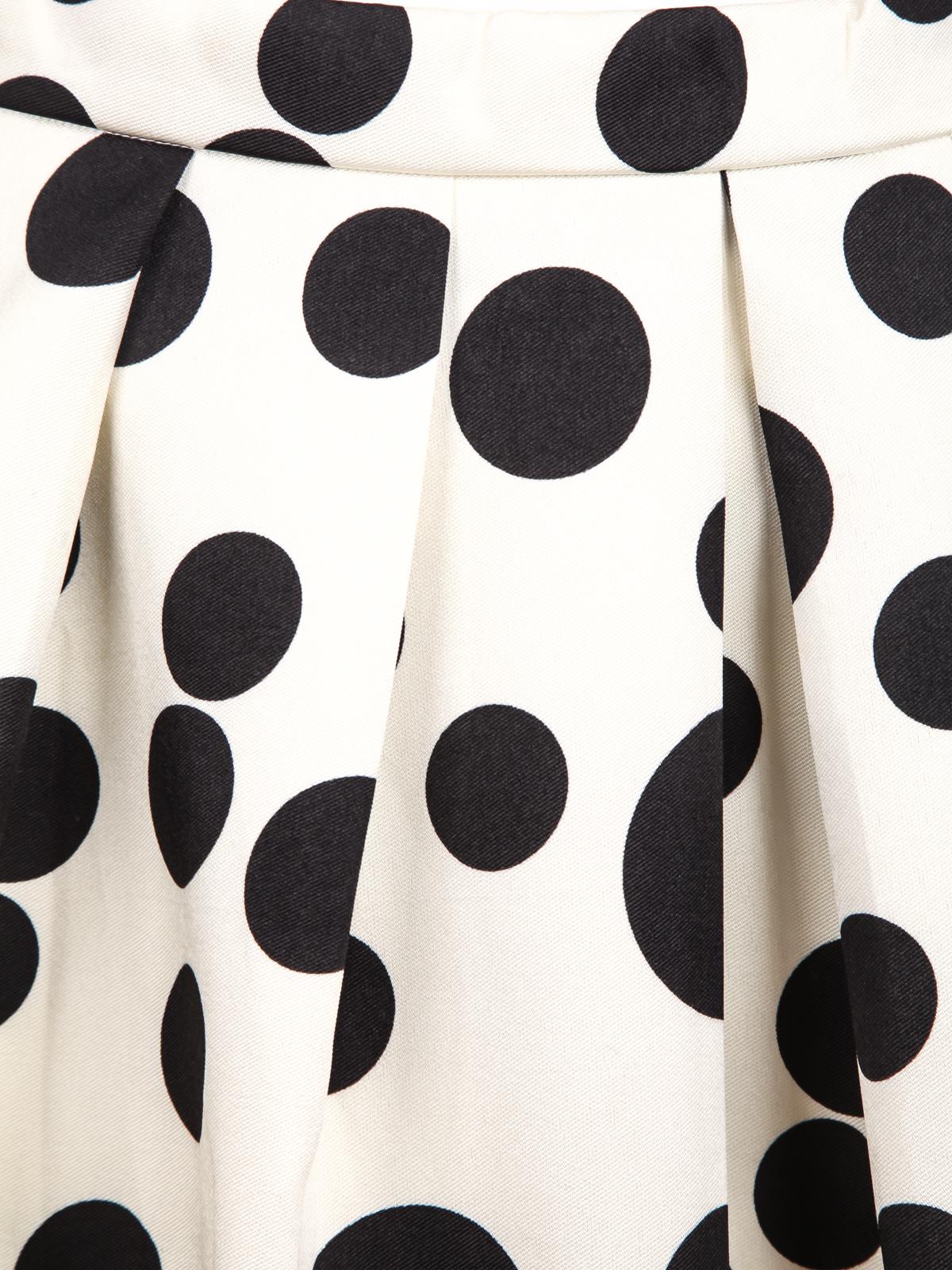 White Polka Dot Pleated Skirt - Sheinside.com
