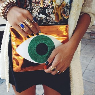 bag clutch purse handbag eye evil eye