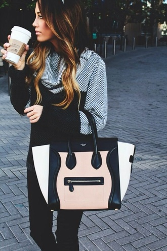 bag handbag colorblock sweater black and white black white purse shirt tumblr designer style stylish tumblr girl long hair blazer top denim jeans summer fall outfits jumper speckled knitwear knitted sweater blouse jacket grey checkered checkered jacket sweater checked black and white pretty black and white sweater winter outfits winter sweater
