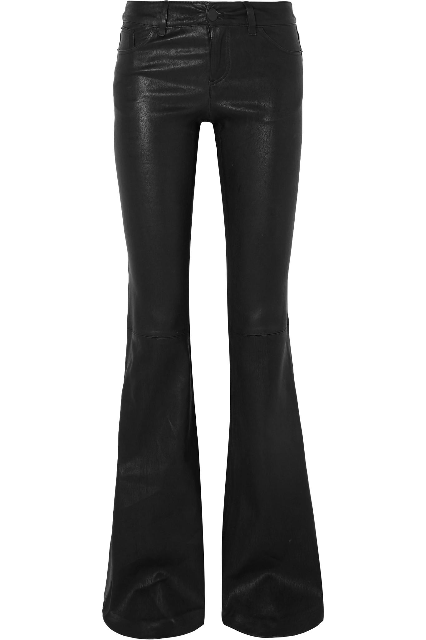 Alice   Olivia - Black Leather Flared Pants - Lyst
