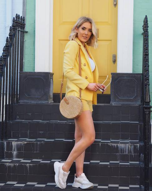 jacket blazer yellow blazer shorts bag shoess unglasses sunglasses