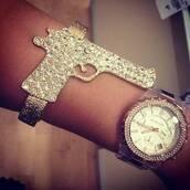 jewels,gun,bracelets,crystal,gold,gunbracelet,glitter,shiny,jewelry,gun bracelet,silver
