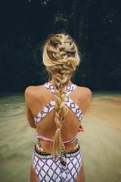 swimwear,bikini,open back,one piece,tumblr,one piece swimsuit,cut-out swimsuit,hot swimwear,multicolored swimsuit,hippie swimwear,hipster swimwear,bohemian,crossed back,tribal pattern