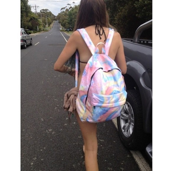 bag pale tie dye backpack backpack rucksack tie dye boho gypsy rosy girl streetwear streetstyle bunt colourful