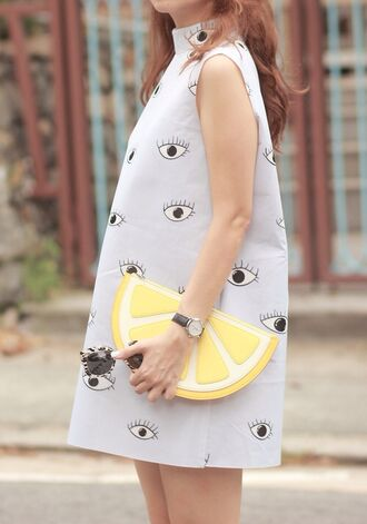bag handbag lemon eyes print