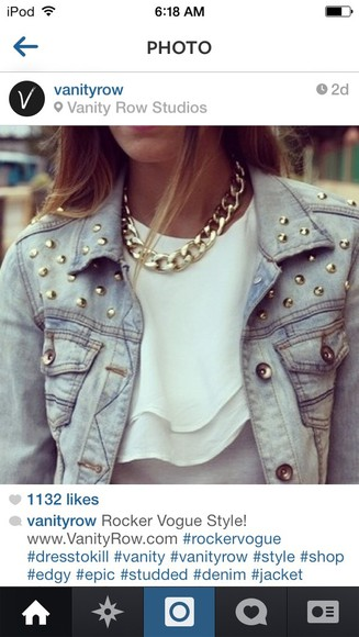 streetstyle jacket jeans jacket studs rocker vogue biker hippie chic blouse jewels