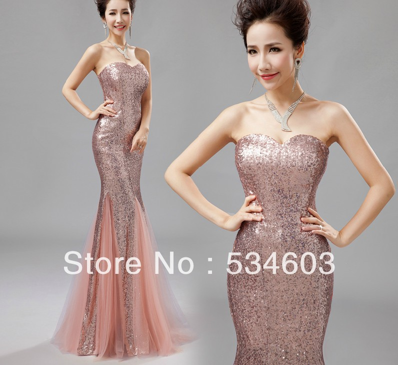 REAL SAMPLE Elegant Mermaid Sequin Tulle Long Pink Party Women Evening Dress Custom Made CR 108-in Evening Dresses from Apparel & Accessories on Aliexpress.com