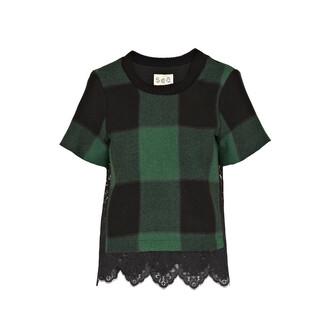 blouse plaid shirts lace shirt