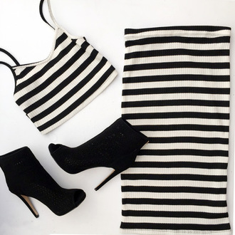 dress dress set cute dres crop tops midi skirt pencil skirt striped top striped skirt striped