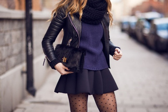 clutch blue beautiful cute sweater dark blue skirt dark winter heart biker jacket scarf street